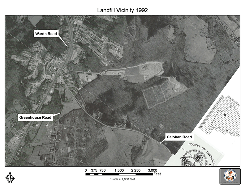Aerial view and map of the Campbell County Landfill Site in 1992 - 72 dpi