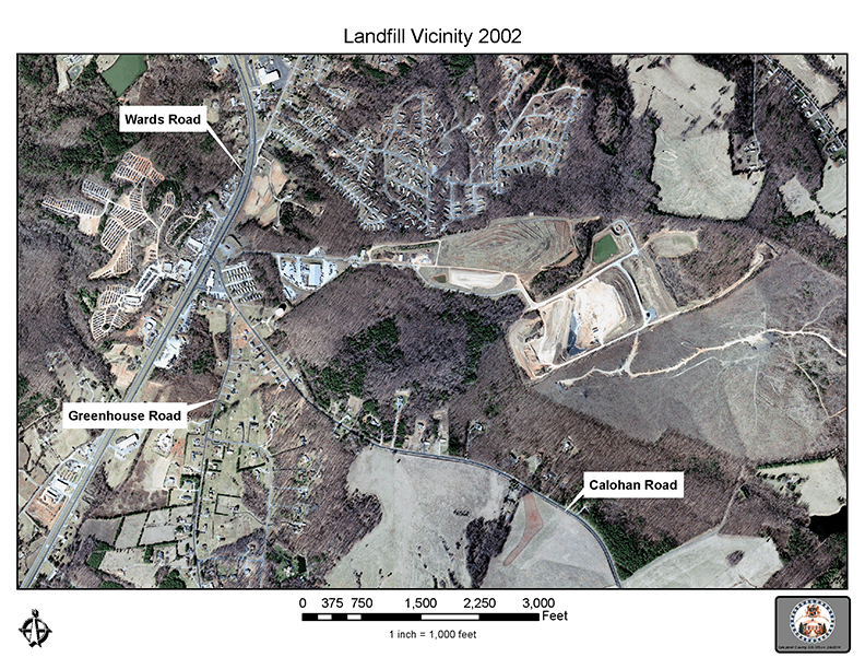Aerial view and map of the Campbell County Landfill Site in 2002 - 72 dpi